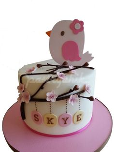 Birdie and flower cake baby girl