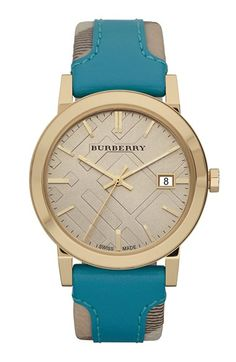 Free shipping and returns on Burberry 'Large' Stamped Leather Strap Watch, 38mm at Nordstrom.com. The check pattern imprinting a sunray watch dial continues through the leather-topped strap to create a modern interpretation of a classic three-hand timepiece.
