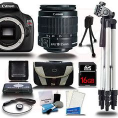 Canon EOS Rebel T5 1200D Camera Body KIT + 18-55mm + 16GB + Case + Tripod & More