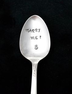 Hand Stamped Spoon Marry Me Spoon Stamped by TheSilverwearShop, $12.00
