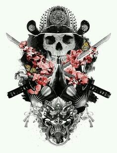 Mixed design of a praying skull samurai, flowers and a fu-dog Kunst Tattoos, Bild Tattoos, Great Tattoos, Small Tattoos, Ronin Samurai, 16 Tattoo, Fu Dog, Meaningful Tattoos For Women, Japanese Tattoos