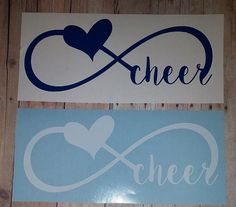 Cheer or Band Infinity car decals 6.5 inches wide by 3.5 inches tall  You are purchasing a vinyl decal, exactly as above, It will come with