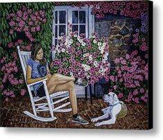 Girl And Her Dog Canvas Print / Canvas Art By Manuel Lopez