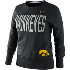 Nike Iowa Hawkeyes Ladies Classic Fleece Crew Sweatshirt - Black