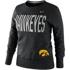 Nike Iowa Hawkeyes Ladies Classic Fleece Crew Sweatshirt - Black