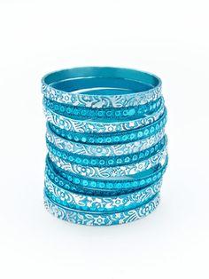 Chamak by Priya Kakkar Set Of 12 Blue & Silver Bangle Bracelets