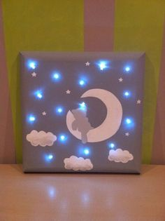 Light Up Canvas, Light Wall Art, Save On Crafts, Diy And Crafts, Fabric Covered Canvas, Light Up Pictures, Art Sur Toile, Diy Baby Gifts, Creation Deco
