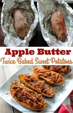 Apple Butter Twice Baked Sweet Potatoes recipe from Served Up With Love. Who knew apple butter and sweet potatoes would be so great together. Plus, this one comes with a giveaway for Sweet Potato Love from Syrup and Biscuits. Best Grill Recipes, Grilling Recipes, Fall Recipes, Holiday Recipes, Great Recipes, Cooking Recipes, Holiday Meals, Healthy Recipes, Savory Sweet Potato Recipes