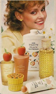 Avon Pretty Peach (this is the Portuguese ad). Aimed at young girls. I had this in the late 1970's, was still around in the late 1980's as I bought some for my eldest daughter. https://www.etsy.com/shop/AvonKatVintage #avon #vintage
