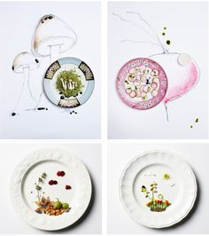 andrea bricco - these plates don't just hold food. she has positioned them in a way that they show part of a landscape. i like that she doesn't just restrict the food to the plate but expands it out onto the surface