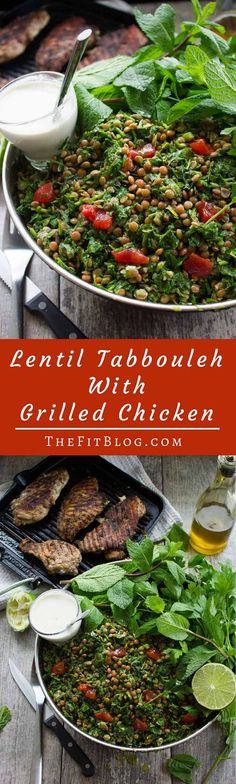 Lentil tabbouleh with grilled chicken is my favorite tabbouleh recipe. Super delicious, very easy, and a quick meal that makes a perfect healthy dinner.