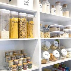 If you're looking for cheap kitchen pantry storage ideas, these organised cupboards are the stuff of neat freak dreams (eg. Busy Philips' before-and-after). Kitchen Pantry Design, Kitchen Cupboards, Diy Kitchen, Kitchen Interior, Kitchen Decor, Kitchen Pantry Cupboard, Kitchen Pantries, Linen Cupboard, Pantry Cabinets