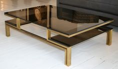 French Smoked Glass & Brass Coffee Table
