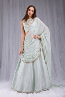 Payal Singhal New Arrivals Collection : MINT EMBROIDERED DRAPED LEHENGA SAREE