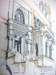 A Brooklyn building with a venetian flair. This is the front entry on Avenue. Ink and watercolor on location, from 2 weekends ago. Sneaking in a post during lunch. Landscape Sketch, Brooklyn, Ancient Architecture, Architecture Sketches, Landscape Background, Perspective Drawing, A Level Art, Urban Sketchers, Dope Art