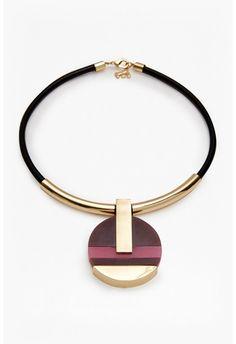 18 Inch Colour Block Circle Pendant Necklace