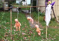Yup. You can tell it's Halloween when people hang babies out in the yard.