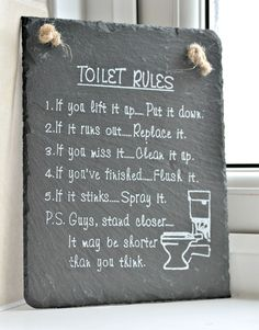 The Toilet Rules! - a must have for any Bathroom dominated by Boys hehe... The Best £3 ive EVER spent! www.suggys.co.uk/Leanne