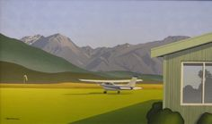 'Fiordland Aero Club' oil painting on board, by Brian Dahlberg.