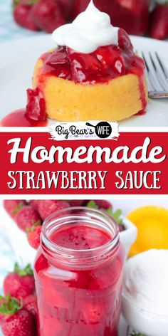 Sweet Homemade Strawberry Sauce that's perfect for topping ice cream, shortcakes and yogurt! It's so good that you could even eat it with a spoon with some cool whip! # Food and Drink dessert cool whip Strawberry Sauce, Strawberry Desserts, Köstliche Desserts, Dessert Recipes, Chocolate Strawberries, Covered Strawberries, Strawberry Glaze Recipe For Shortcake, Strawberry Shortcake Trifle, Alcoholic Desserts
