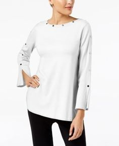 Alfani Petite Studded Long-Sleeve Top, Created for Macy's - White P/XL