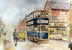 Pete Lapish - Kirkstall Road - Leeds - West Yorkshire - England - A No 4 Chamberlain Tram is going towards Kirkstall Abbey and on the right a Ford Consul is coming towards Leeds City Centre - Leeds England, Yorkshire England, West Yorkshire, Electric Locomotive, Steam Locomotive, Bus Art, Leeds City, My Town, Vintage Travel Posters