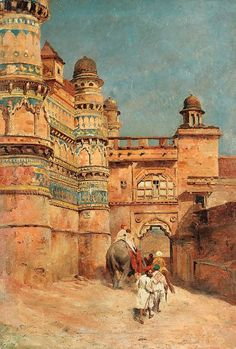 Edwin Lord Weeks - The Hathi Pol (Elephant Gate) Gwalior Fort Islamic Paintings, Indian Art Paintings, Abstract Paintings, Oil Paintings, Carl Spitzweg, Jean Leon, Empire Ottoman, Middle Eastern Art, India Painting