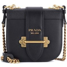 Prada Pionnière Leather Shoulder Bag (8,975 AED) ❤ liked on Polyvore featuring bags, handbags, shoulder bags, black, crossbody bags, prada, 100 leather handbags, real leather purses, shoulder hand bags and genuine leather purse