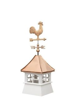 Amish Made Classic Vinyl Cupola with Window Cupolas add an attractive element to any roof. Lovely windows and weathervane. #cupola #outdoordecor