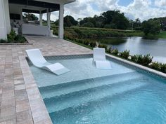 Aqua Chairs in-pool chaise loungers arrive in Delray Beach, FL. Year-round enjoyment on your tanning ledge in Florida. Backyard Pool Landscaping, Backyard Pool Designs, Swimming Pools Backyard, Swimming Pool Designs, Swimming Pool Tiles, Luxury Swimming Pools, Lap Pools, Indoor Pools, Luxury Pools