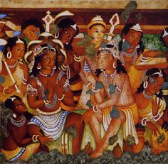 Indian Cave Paintings - Informative & researched article on Indian Cave Paintings from Indianetzone, the largest free encyclopedia on India. Ajanta Ellora, Ajanta Caves, Indian Women Painting, Indian Art Paintings, Medieval Paintings, Oriental, India Art, Mural Painting, Old Art
