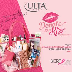 October is Breast Cancer Awareness month and there are 4 ways to show your support at Ulta Beauty! Enter for a chance to win a Beauty Bag valued at $598 by donating $1 to BCRF; Get a free gift with any $5 BCRF donation; Join us for our Cut-A-Thon on Sunday, 10/11; PINKOVER your lips, lids and locks to support breast cancer research