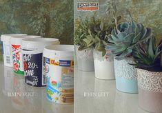 Pentart dekor: Tejfölös vödörből szobanövény kaspó Decoupage, Planter Pots, Recycling, Canning, Tableware, Diy, Vintage, Lawn And Garden, Dinnerware