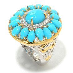 138-833- Gems en Vogue Sleeping Beauty Turquoise & White Zircon Double Halo Ring