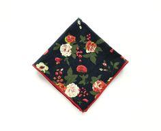 Mens navy blue floral pocket square floral prints wedding pocket square gift for men groomsmen by TheStyleHubTrends on Etsy