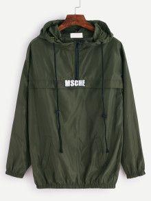 Sweat-shirt imprimé en capuche avec lacet et zip - vert
