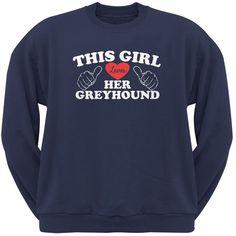 This Girl Loves Her Greyhound Navy Adult Crew Neck Sweatshirt