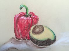 Fruit and veg in pastel on paper. Fruit And Veg, Charcoal, Crochet Earrings, Pencil, Pastel, Christmas Ornaments, Holiday Decor, Cake, Fruits And Veggies