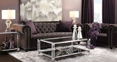 Stylish Home Decor & Chic Furniture At Affordable Prices Brown Living Room Decor, Stylish Home Decor, Chic Furniture, Affordable Furniture, Living Room Furniture, Purple Living Room, Inexpensive Home Decor, Home Decor, Brown Living Room