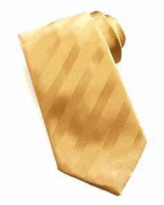Tonal Stripe Silk Tie, Gold by Brioni at Neiman Marcus.