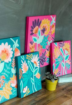 Family Painting, Diy Painting, Painting Tutorials, Diy Canvas, Canvas Art, Canvas Frame, Paint By Number Diy, Painted Flower Pots, Paint Flowers
