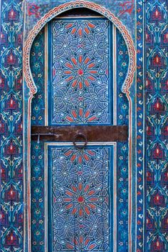 Painted Door, Dar Tazi. Beautifully painted doors from Dar Tazi and Dar Mokri, two restored palaces in Fès, Morocco