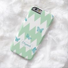 A trendy mint and white big chevron stripes slim #iPhone6case with a girly teal butterfly pattern. This cute and stylish zigzag design can be personalized by adding your name.