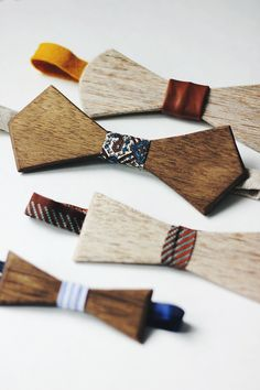 I would totally start wearing bow ties just so I could make some of these.  Super-cute!!! DIY Wooden Bow Tie @The Merrythought