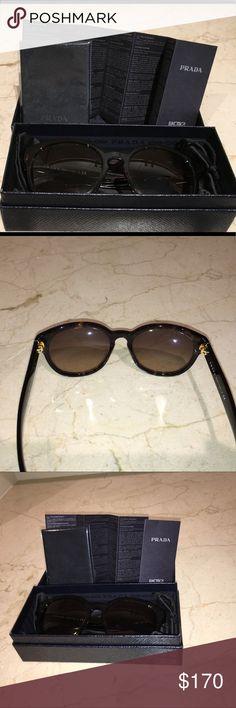 Prada sunglasses Prada sunglasses with original box, lens cleaner and rest of original packing. No scratches or signs of wear. Dark brown tortoise shell frame. Bought at Las Vegas Prada store. Authentic prada. No trades. Prada Accessories Sunglasses