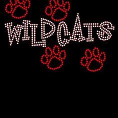 Wildcats / paw prints Rhinestone bling shirt Blingitallover@gmail.com www.facebook.com/Blingitallover