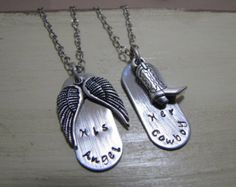 Items similar to Her Cowboy His Angel Necklace Set, His and Her Couple Set, Husband And Wife, Girlfriend Boyfriend on Etsy Angel Necklace, Ring Necklace, Cowboys And Angels, Couple Necklaces, Relationship Gifts, Wife And Girlfriend, Couple Shirts, Antique Silver, Jewelry Sets