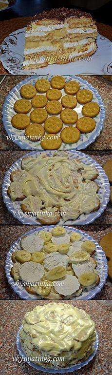 Торт бананово-зефирный - без муки, яиц и выпечки.
