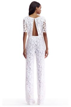 DVF Kendra Embellished Open Back Jumpsuit in white More
