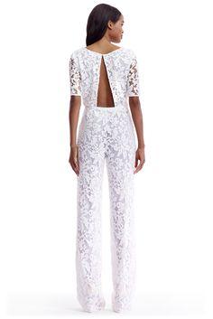 DVF Kendra Embellished Open Back Jumpsuit in white
